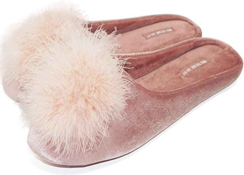 BCTEX COLL Women's Slippers, Feather Fluffy House Slippers for Women Ladies  Pom Pom Memory Foam Velvet House… | Memory foam flats, Feather slippers,  Velvet slippers