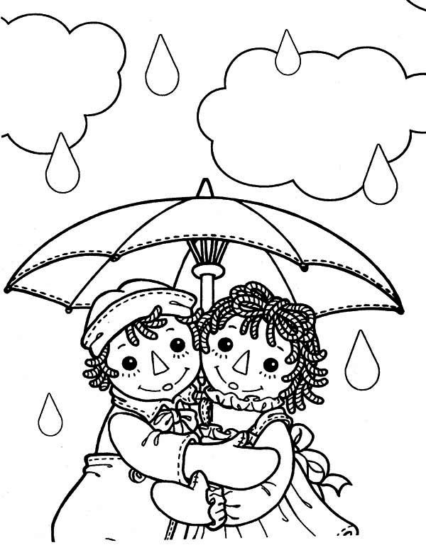 Raggedy Ann And Andy Under Umbrella In The Rain Coloring Page Raggedy Ann  And Andy, Coloring Pages, Raggedy Ann