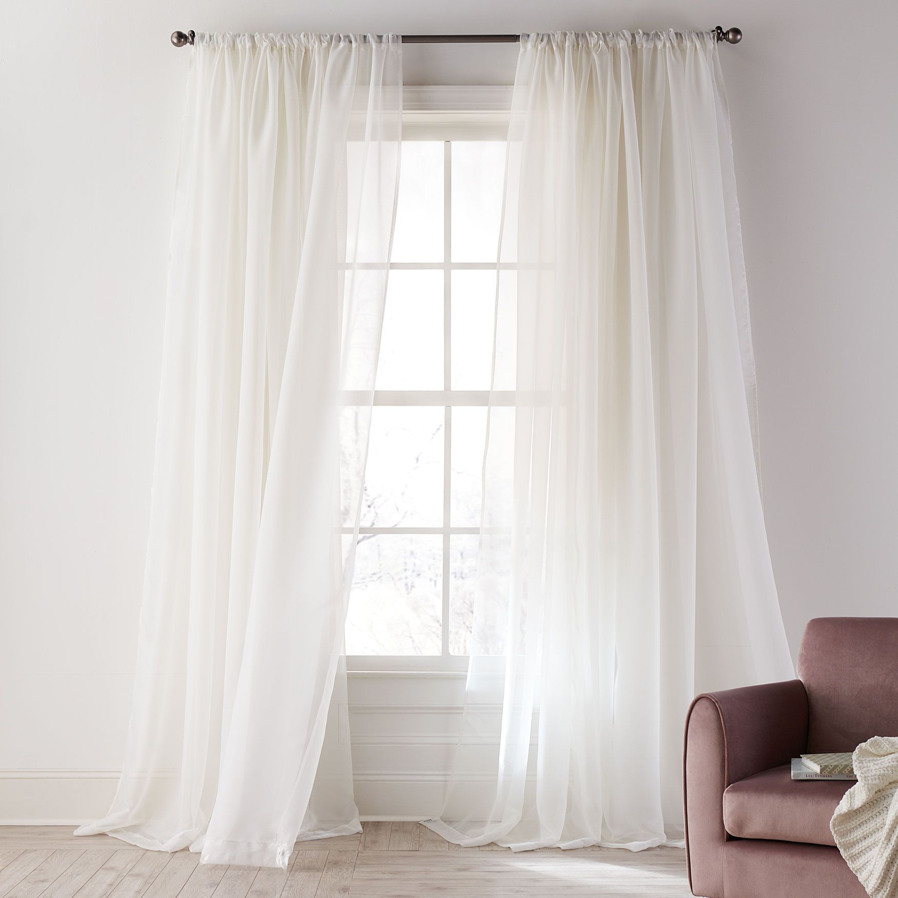 Ophelia Shimmer Curtain Sheer Curtains Brylane Home In 2020