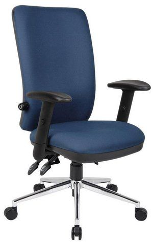 office chair levers round base chiro lumbar support orthopaedic in blue with under seat