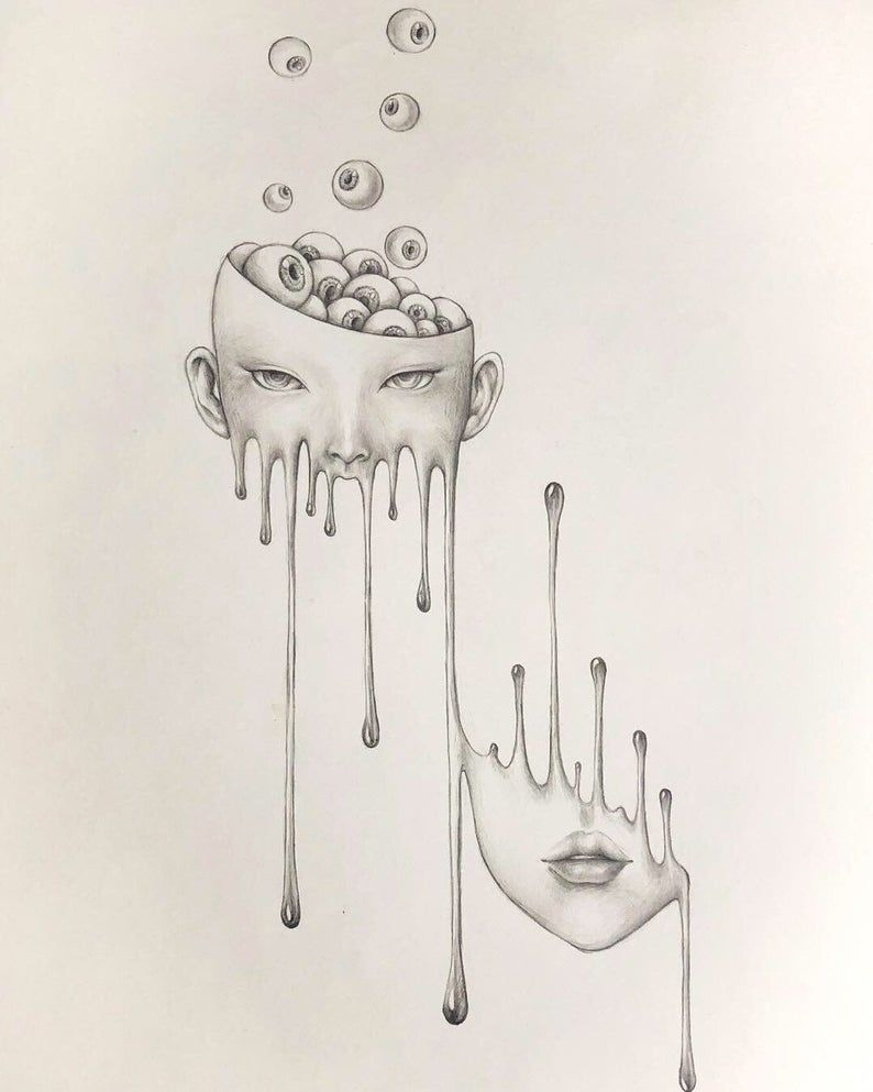 limit autographed print, melting Girl with eyeball, surreal pencil drawing, horror Wall Decor, dark art, popsurrealism dark fantasy pop