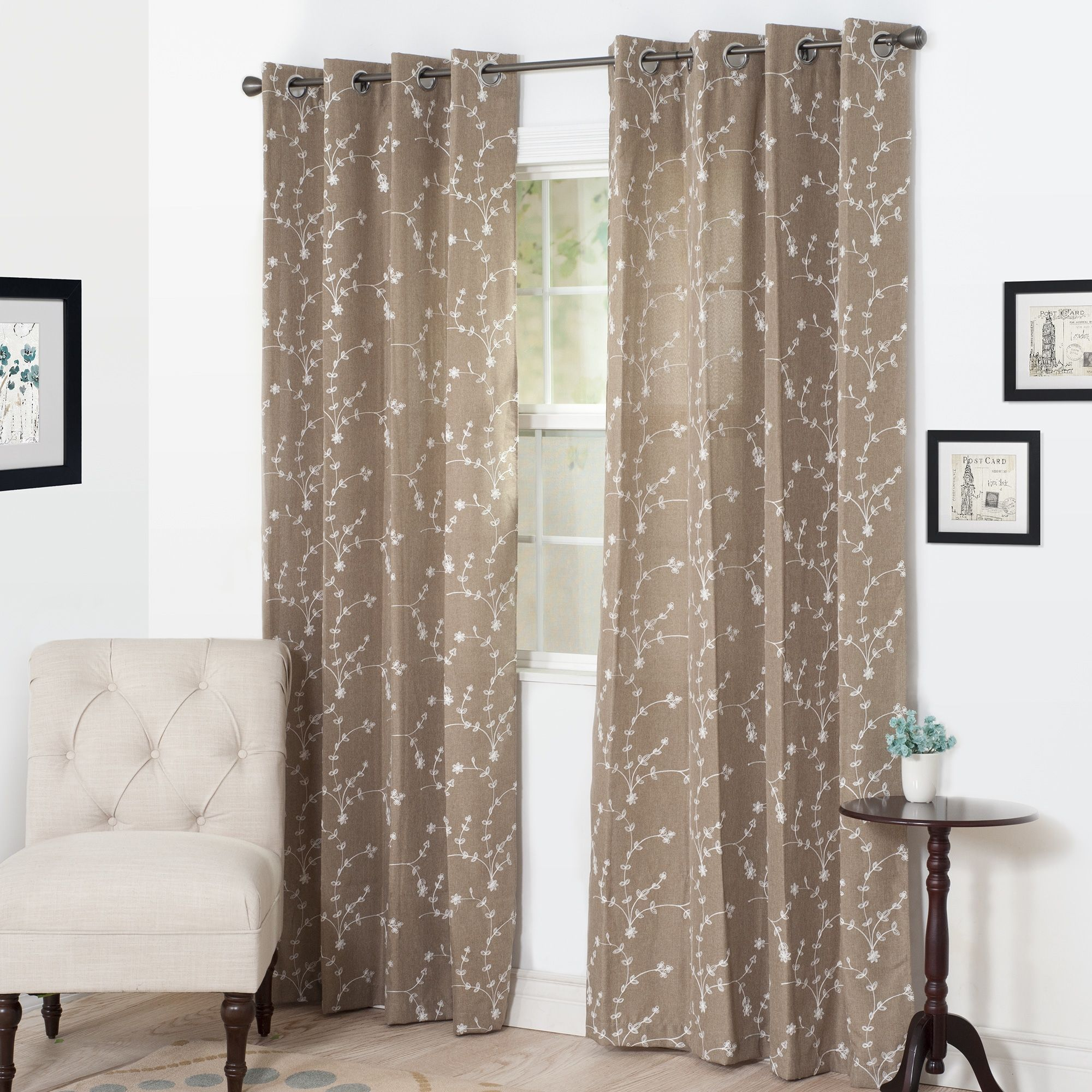 The gray barn yturria embroidered curtain panel taupe brown