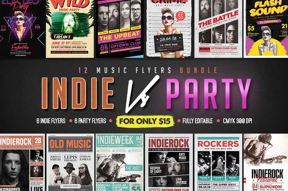 Indie Vs Party 12 Flyer Bundle   @creativework247