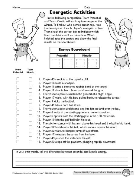 Potential vs. kinetic energy | HS / Science | Science worksheets ...