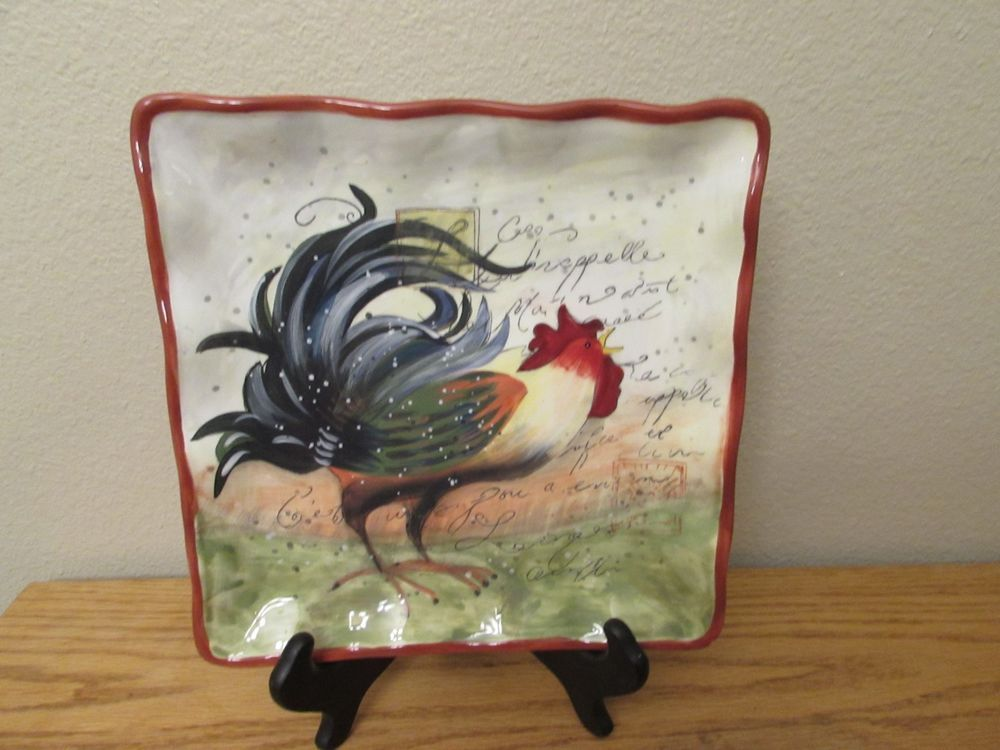 NEWCertified International SUSAN WINGET ROOSTER 10  Square Plate Platter Display #CertifiedInternational #Country & NEWCertified International SUSAN WINGET ROOSTER 10
