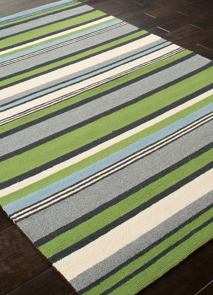 Lime Green And Blue Striped Area Rug Outdoor Living At The Coast
