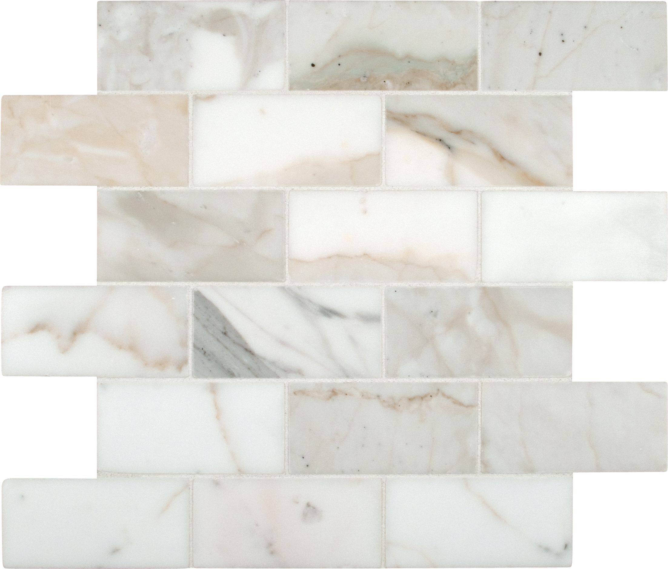 "Calacatta Gold Mounted 2"" x 4"" Marble Subway Tile in White"