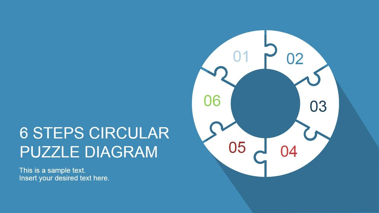 6 Step Circular Puzzle Diagram Template For Powerpoint Diagrams