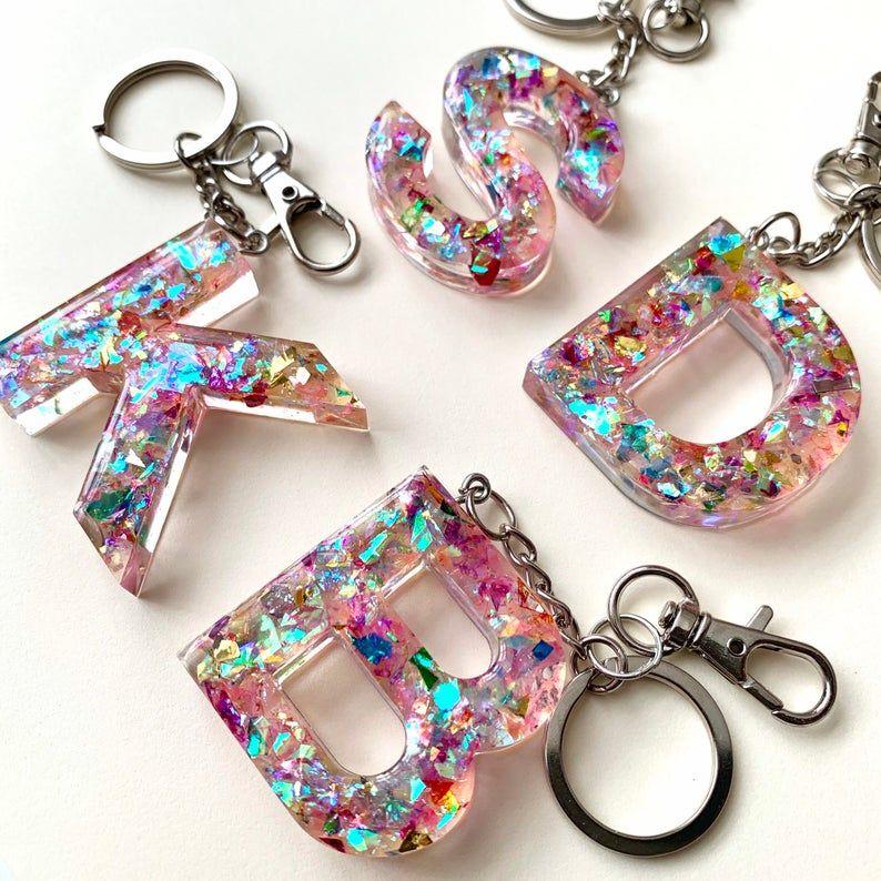 Confetti Geode Keychain
