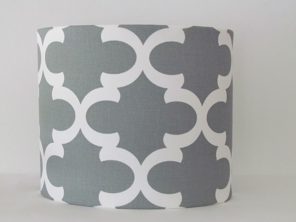 Details About New Handmade Modern Grey Moroccan Tile Geometric Grey Drum Lampshade Lightshade Handmade Modern Drum Lampshade Moroccan Tile
