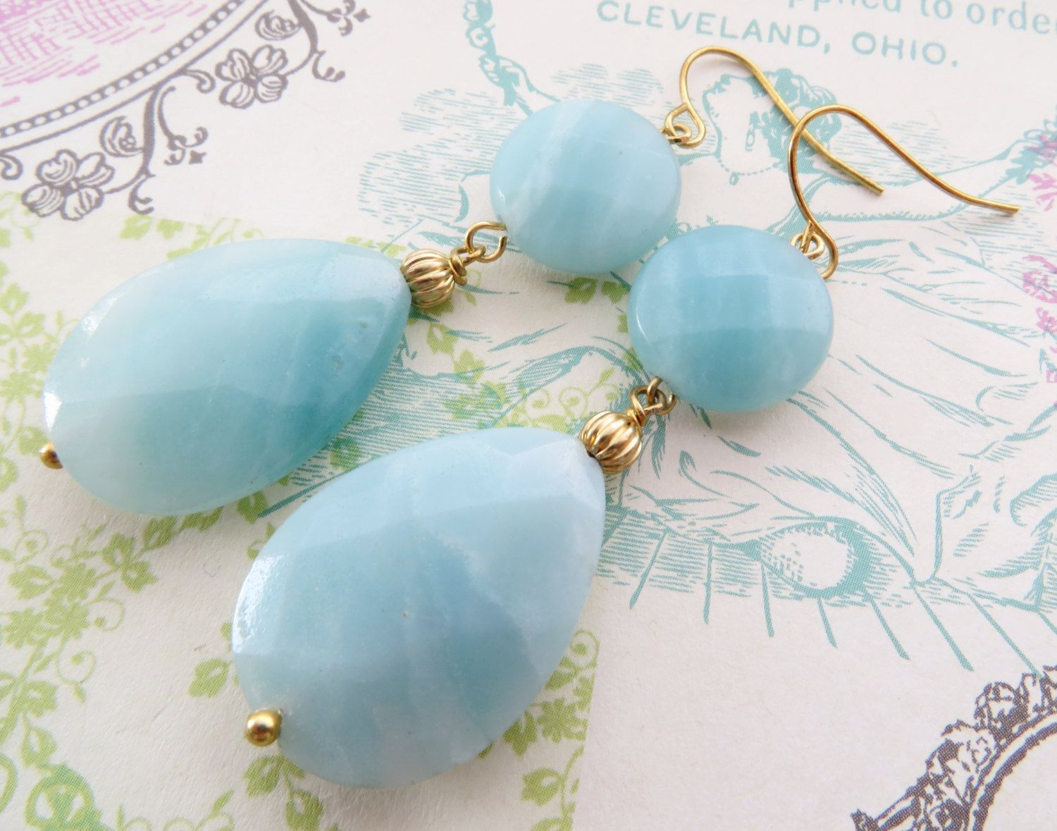 Ite Earrings Light Blue Dangle Drop Uk Gemstone Semi