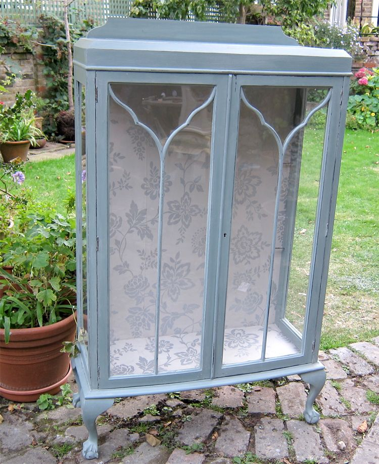 Ball And Claw Painted Vintage Shabby Chic Cottage Glass Cabinet Decor