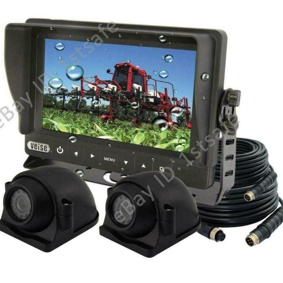 """7/"""" DIGITAL QUAD MONITOR DUAL TWIN DOUBLE REAR VIEW BACKUP REVERSE CAMERA SYSTEM"""
