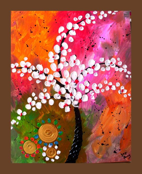 White Flower Tree Painting Textured by DistinctiveModernArt, $80.00