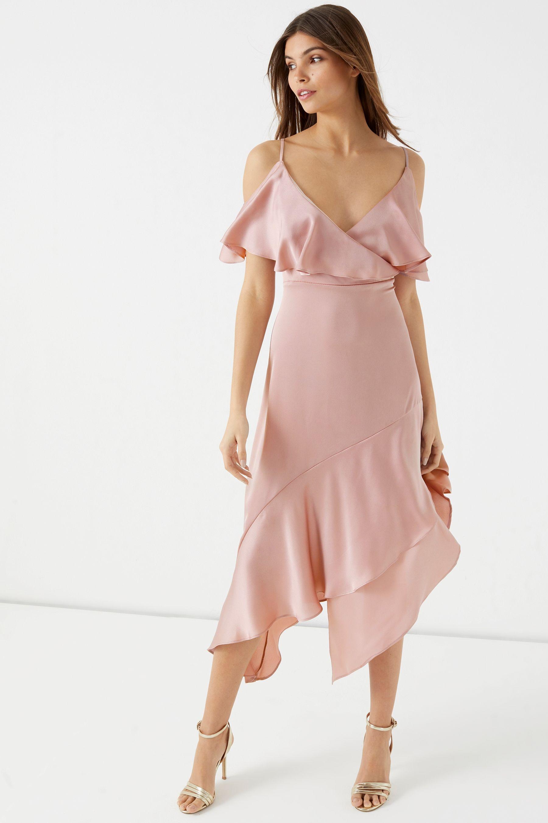 8192769f2608 Womens Lipsy Satin Asymmetric Ruffle Cold Shoulder Maxi Dress - Nude ...