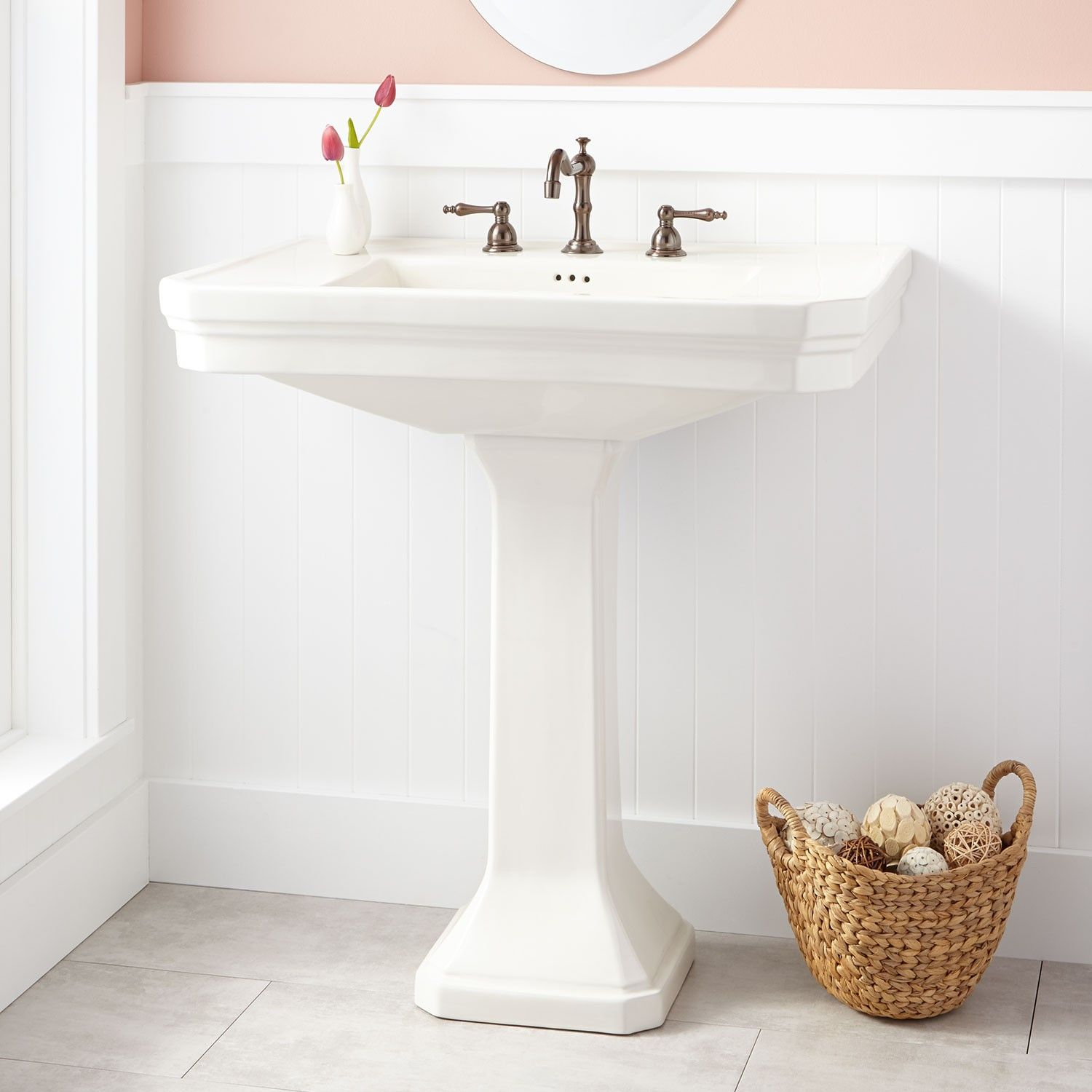 Kacy Pedestal Sink Large 8 Widespread White Pedestal Sink