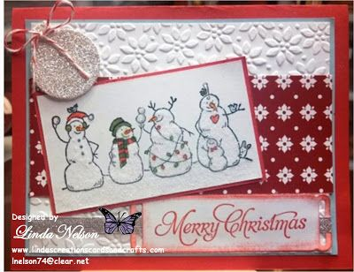Christmas, Frosty and Friends, holiday, Petals a Plenty embossing folder, snow, snowman, winter   Linda Nelson Linda's Creations Cards and Crafts www.lindascreationscardsandcrafts.com 360-326-8820 lnelson74@clear.net