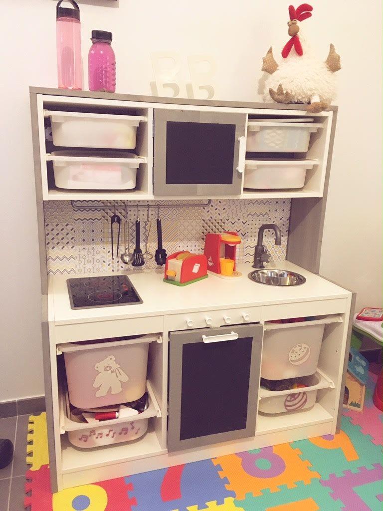 Kids kitchen with lots of storage just like a real kitchen matty