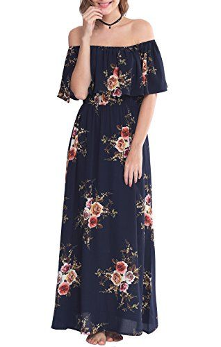1f0553964b Zattcas Womens Off Shoulder Maxi Dress Summer Boho Long Floral Maxi Dress  Large Navy ** Amazon most trusted e-retailer #MaternityDresses