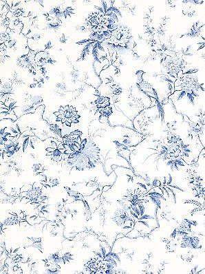 Love Blue And White Together Porcelain Patterns Too For Behind The Glass Cabinets In The Someday Kitchen Blue Wallpapers Floral Wallpaper Wallpaper