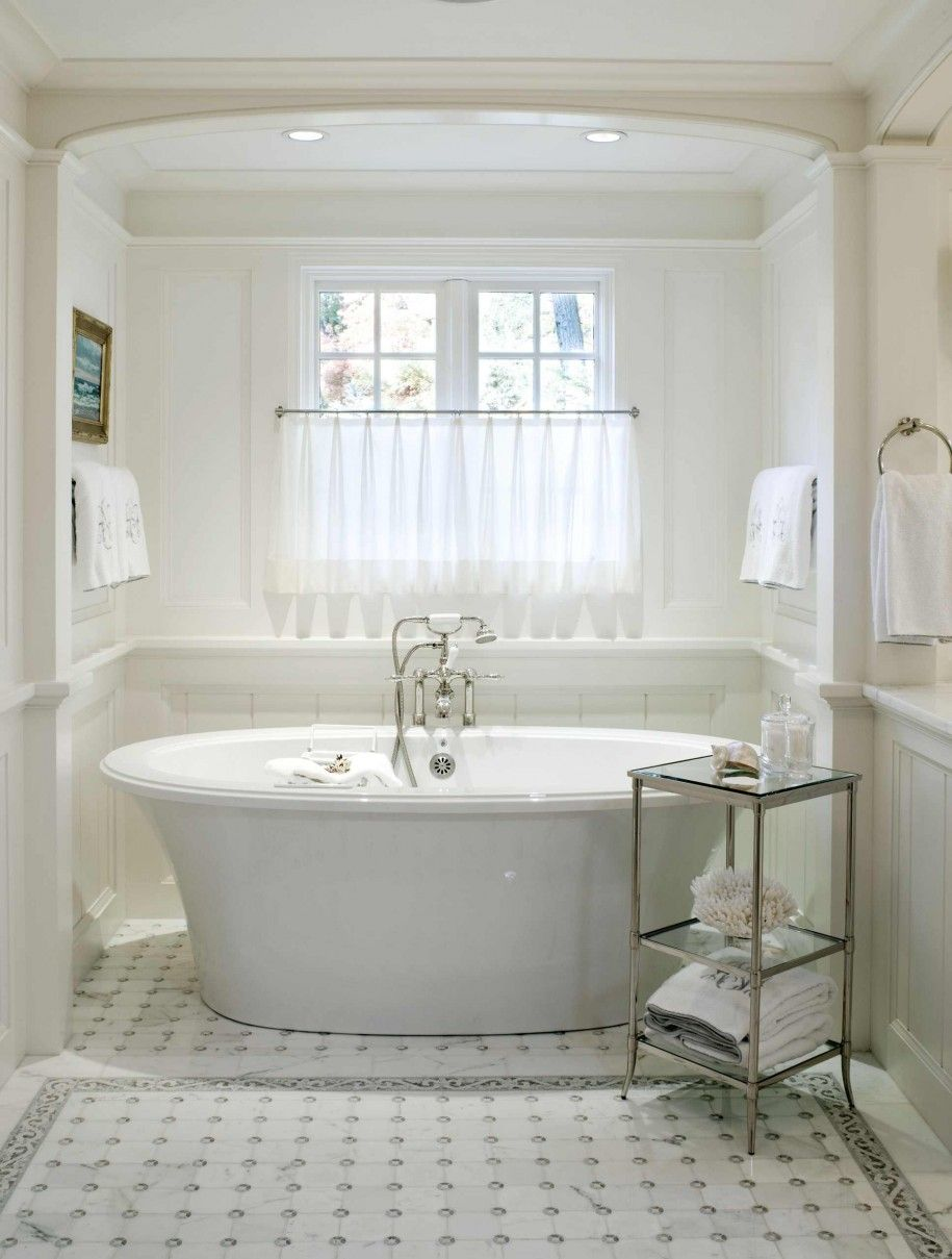 Bathroom: Awesome Free Standing Soaker Tub Under Sheer Window ...