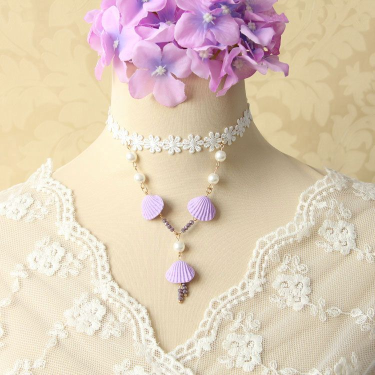 Elegant White Lace Jewelry Venetian Pearls Purple Shells Pendant Lolita Necklace $5.05  #Lovejoynet #Lolita #Necklace
