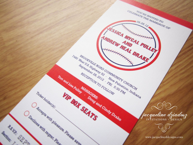 Baseball Wedding Invitation: Jacqueline Dziadosz, Invitations & Design: Jessica And