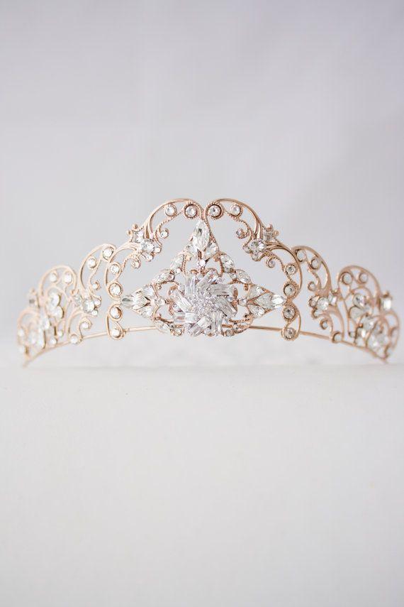 Rose Gold Tiara Filigree Bridal Crown Art Deco Diadem Crystal Wedding Hair Accessories Swarovski Bridal Tiara for weddings SONNET TIARA