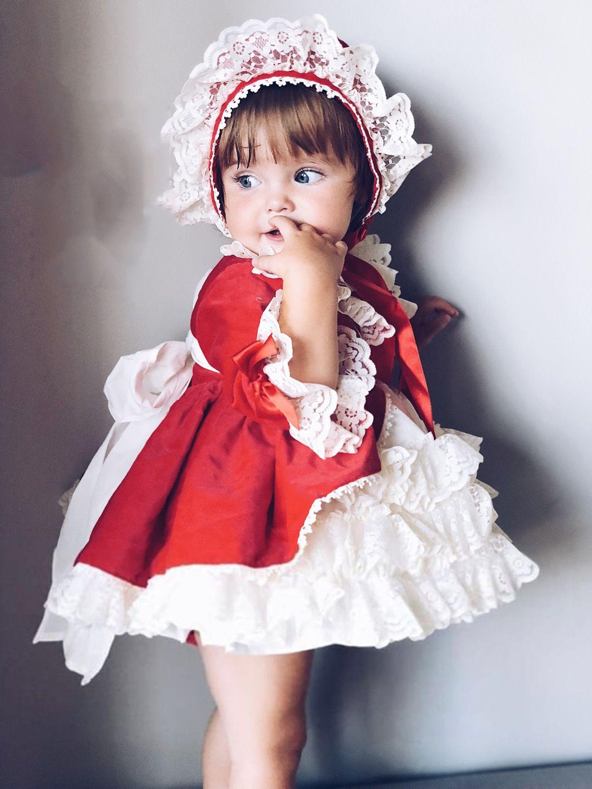 4pcs Spanish Baby Girls Baptism Lolita Princess Dresses Toddler Girl Party Dress Christmas thanksgiving vintage Christmas tutu #babygirlpartydresses