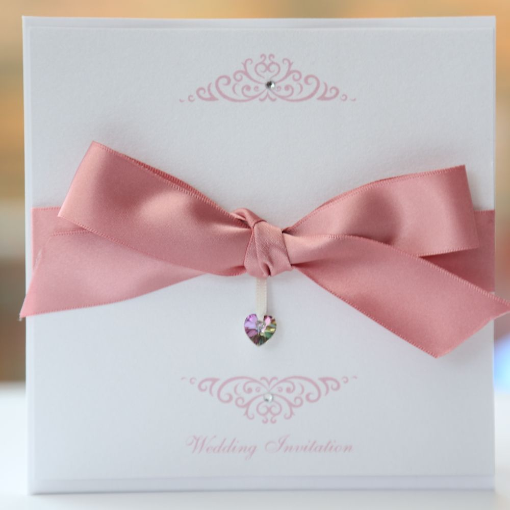 Bow Invitation with Swarovski Crystal Heart Pink & White - Vintage ...