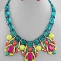 """• Square Cut Beads Teal/Fuchsia/Gold • 3 Oval Bead Center Drops • Curved Metal Bars • Lobster Clasp/Adjustable • 16""""L  • Center 2 1/4""""L  • Post Earrings 8mm"""