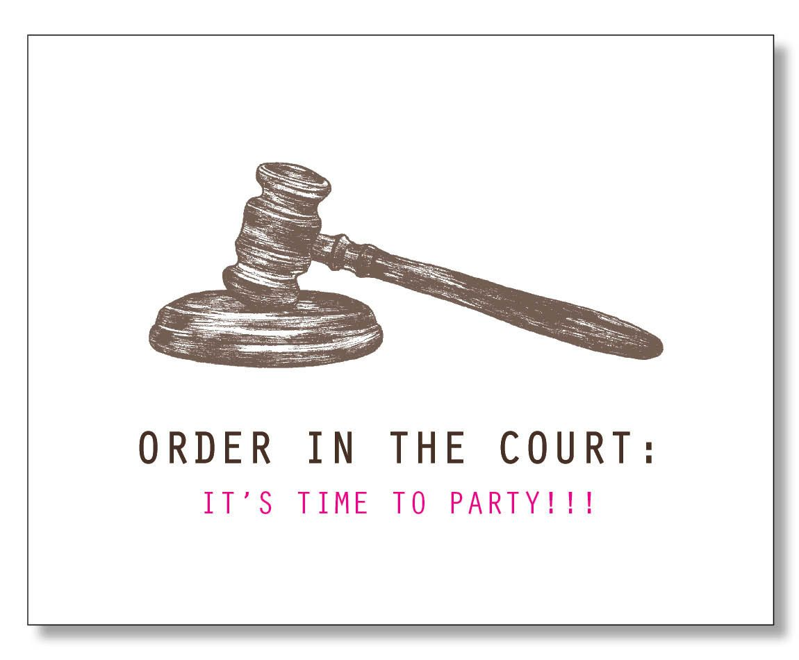 HILARIOUS LAWYER BIRTHDAY Card Judge Law Student Paralegal Order In The Court Eco Handmade Hand Drawn Made Brooklyn