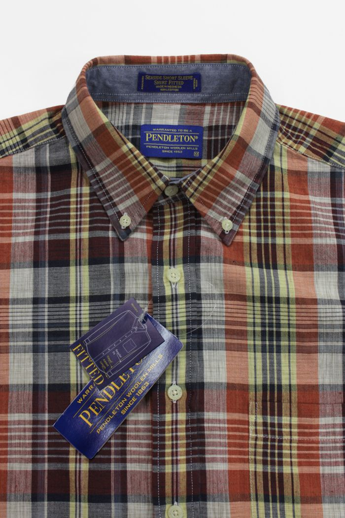 Pendleton Madras Check Shirt  Navy Orenge Plaid
