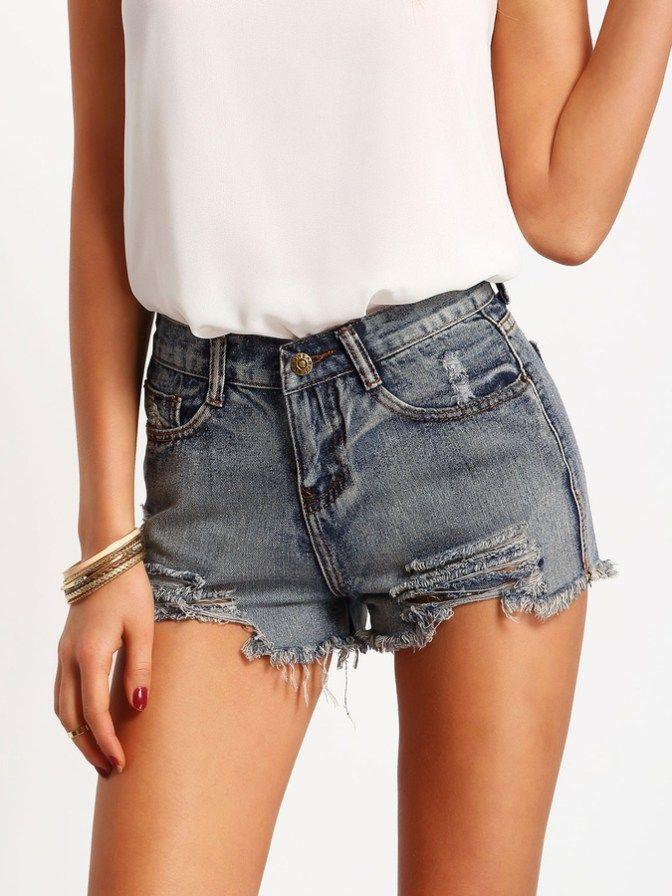 Blue Slim Ripped Fringe Denim Shorts