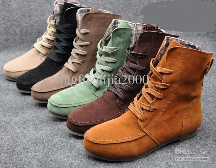 6e6bb4e77107 Wholesale Women Girls Fashion Style Lace Up Winter Boots Flat Ankle shoe  Martin boots