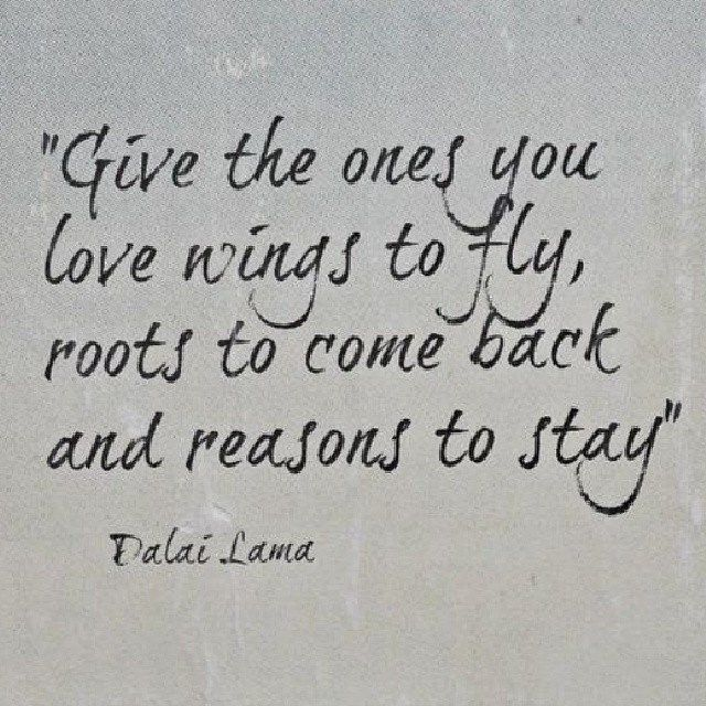 Give the one's you love #wings to fly, roots to come back, and reasons to stay! #Love #Peace #Stays #Forever  #DalaiLama #Quotes #instaquote