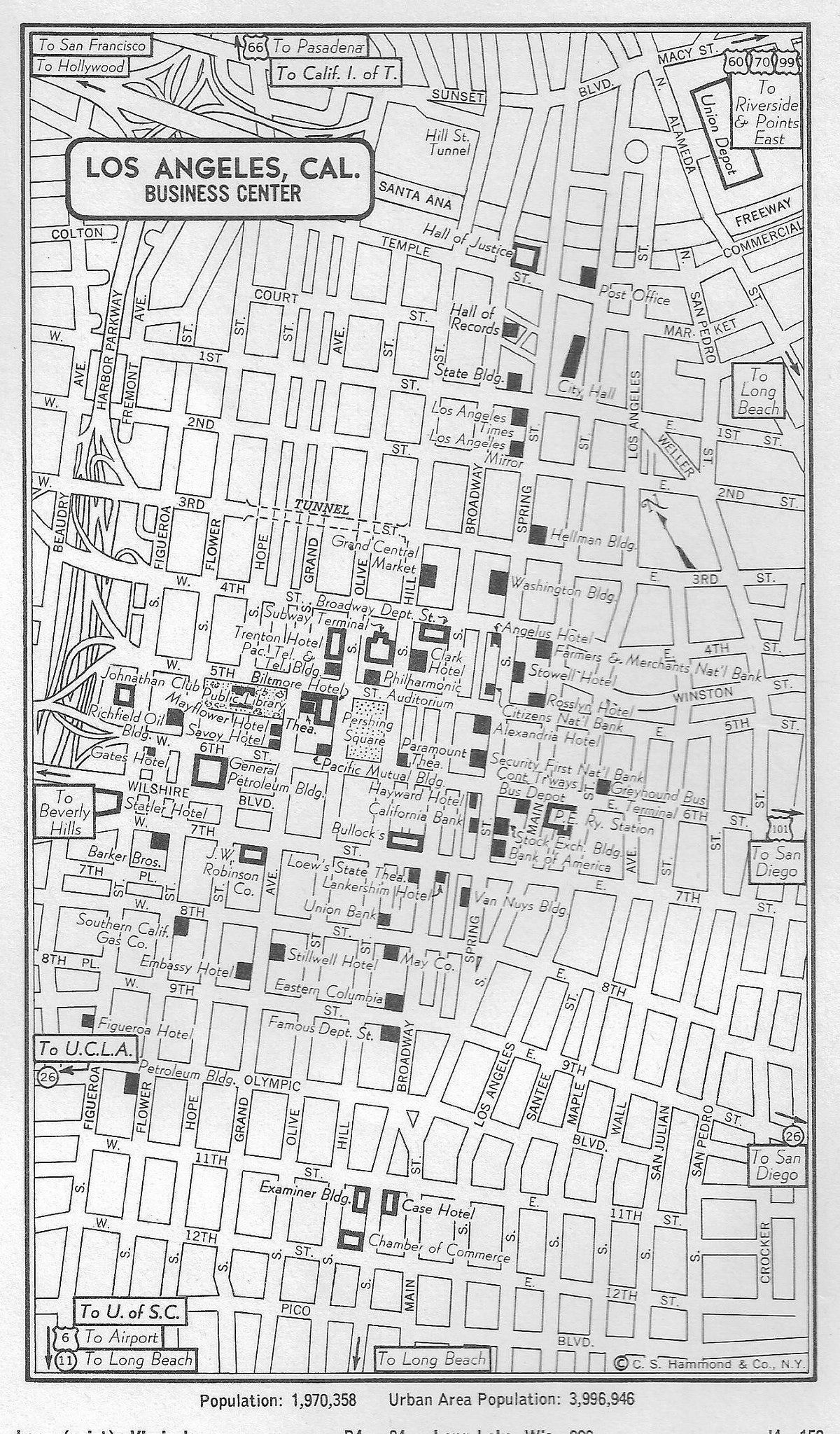 Map Of Downtown Los Angeles 1954 Los Angeles Map Street Map Los Angeles