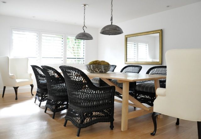 Kathleen Clements Design Casual Dining With Black Wicker Wing