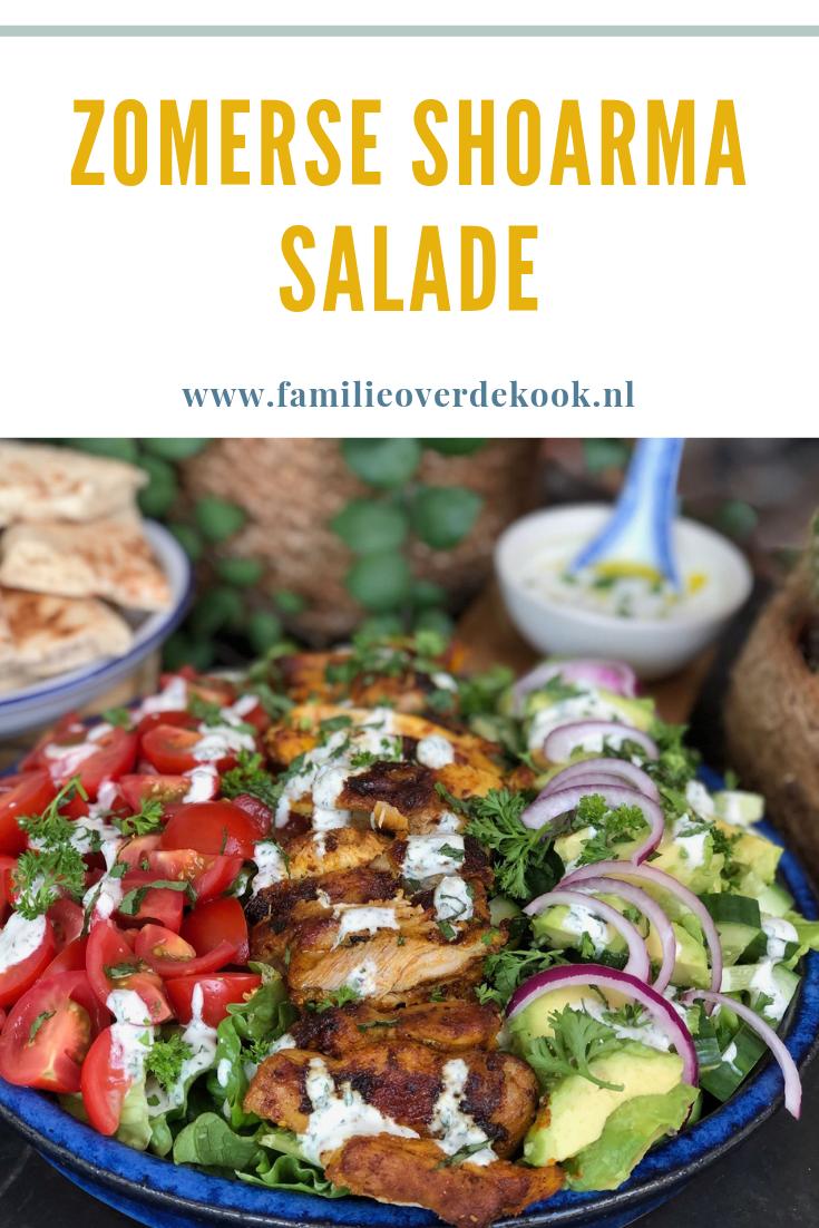Zomerse kip shoarma salade