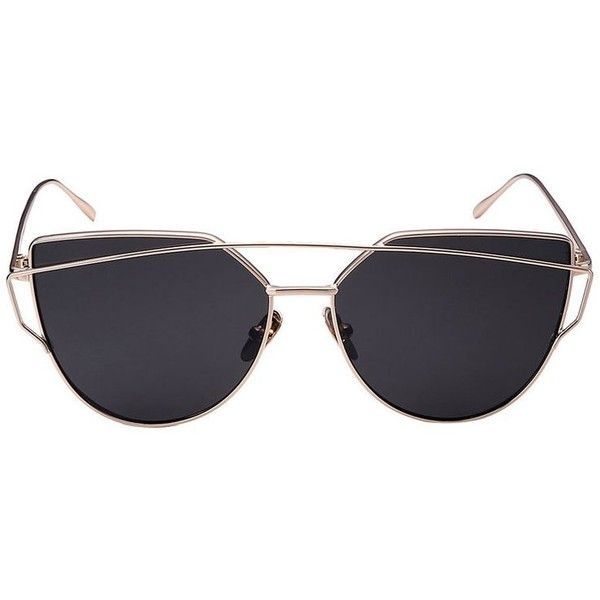 0d08f86634094 Golden Double High Bar Cat Eye Sunglasses ( 50) ❤ liked on Polyvore  featuring accessories