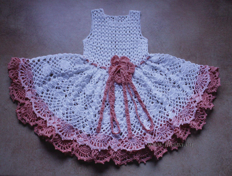 Crochet Dress Pattern No 97 | Häkeln, Babykleidchen und Kinder kleider