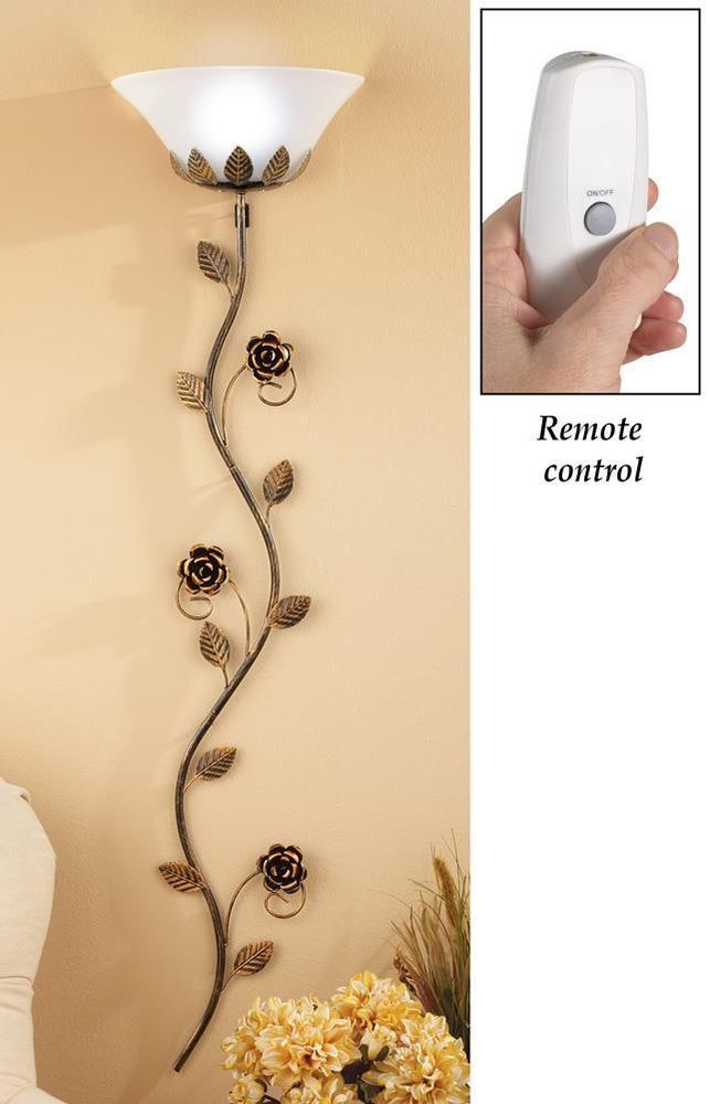 Wall Lamp Remote Control Metal Flowers Rose Vine Rustic Country Home ...