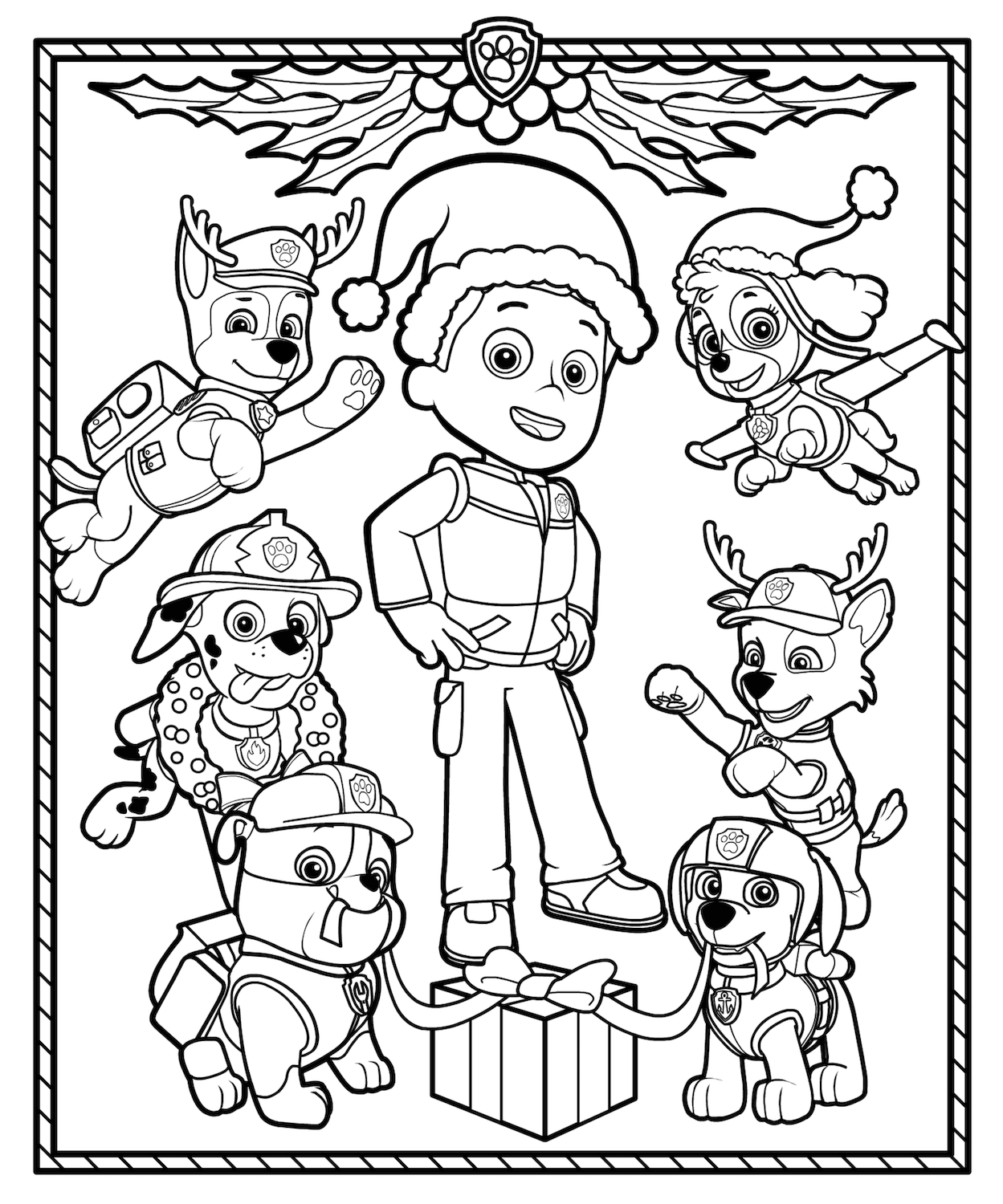 Christmas Coloring Pages Paw patrol coloring, Paw patrol