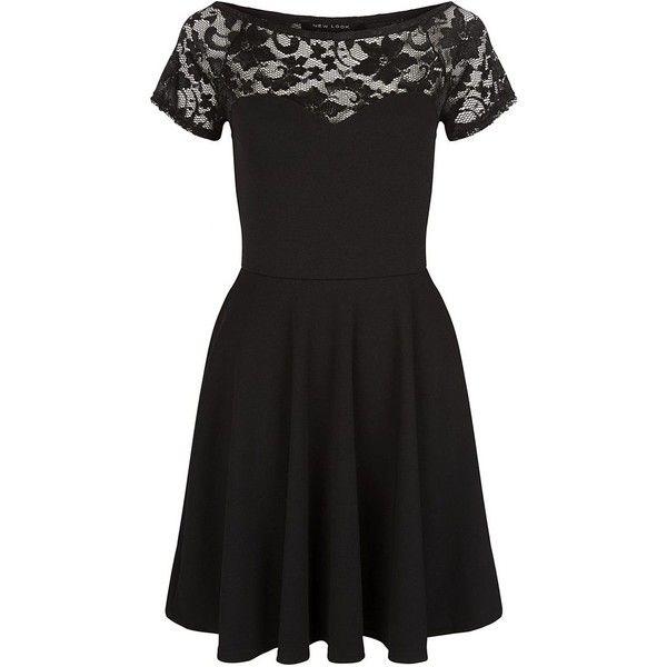 Black Lace Panel Bardot Neck Skater Dress (£15) ❤ liked on Polyvore featuring dresses, short sleeve fit and flare dress, mini dress, fit and flare skater dress, black mini dress and black fit flare dress