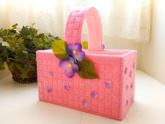 Pink floral basket gift basket mothers day gift easter basket pink easter basket plastic canvas basket easter decor spring decor ready to negle Choice Image