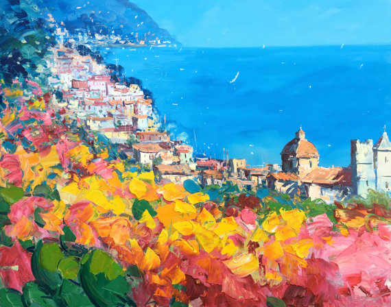 COLOURFUL HOUSES IN ITALY MODERN CANVAS WALL ART PRINT PICTURE READY TO HANG