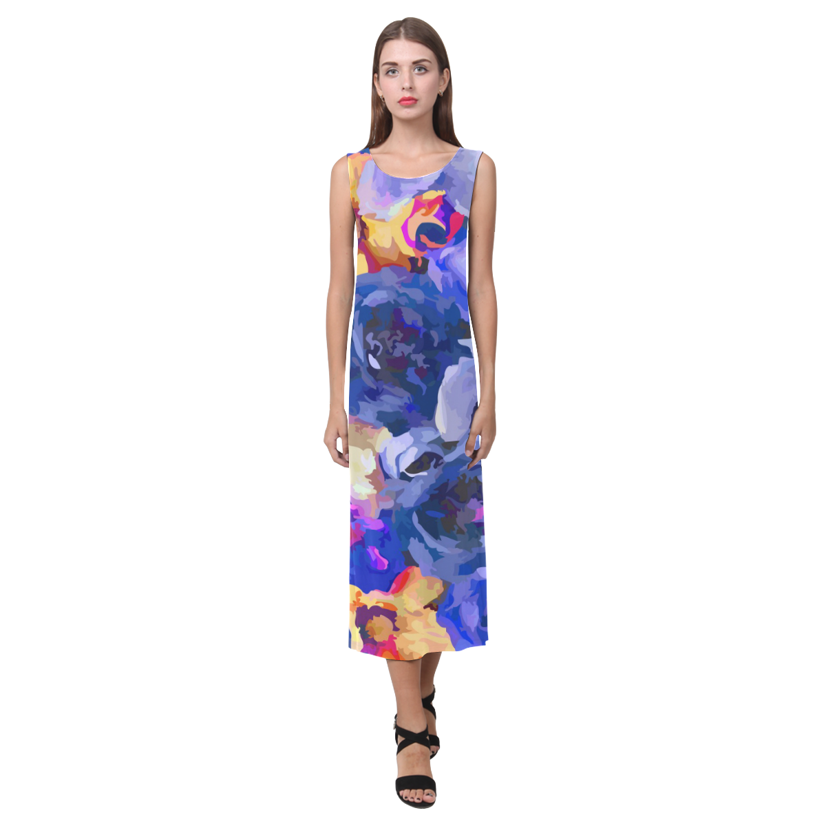 Indigo blue gold watercolor flowers phaedra sleeveless open fork