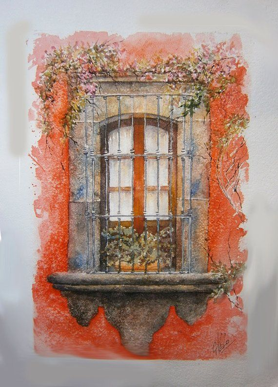 Artículos similares a Watercolor Original Paintings - Acuarela de ventana - Puertas y ventanas antiguas - Paisaje urbano ventana en Etsy