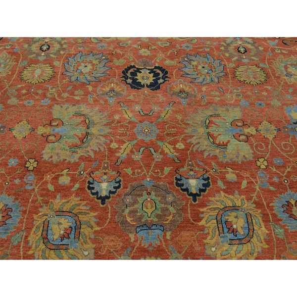 Antiqued Tabriz Hand Knotted Oriental Wool Rust Red Area Rug (9u00277 X