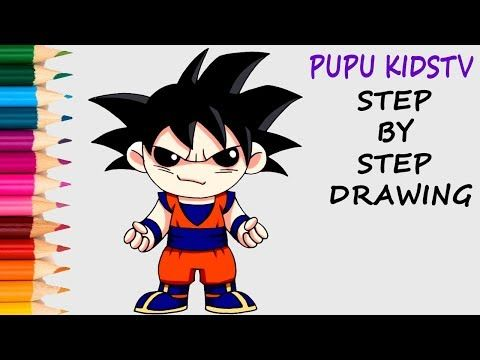 Coloring Pages For Dragons : How to draw goku ssj dragon ball z coloring pages for kids with art